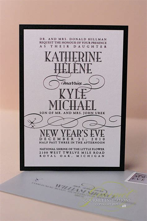 kathryn kyle  years eve wedding invitations