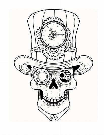 Steampunk Coloring Pages Skull Adult Drawing Ru
