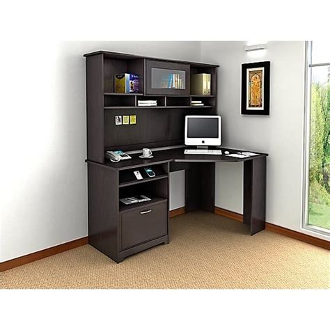staples corner desk unit bush cabot corner computer desk with hutch in espresso oak