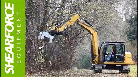 cat  mini excavator denis cimaf dah  brush cutter  work youtube