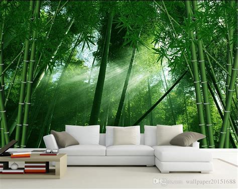 bamboo wind hand painted background wall mural
