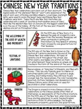 chinese  year traditions reading comprehension