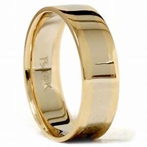 Mens Gold Plain Two Tone Comfort Fit Wedding Band 14K EBay