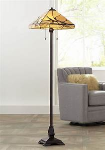 Robert, Louis, Tiffany, Mission, Floor, Lamp, Bronze, Handcrafted, Tiffany, Style, Stained, Glass, For