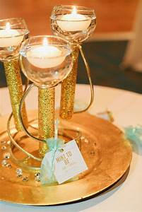 Diy, Gold, Glitter, Floating, Candle, Centerpieces