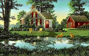 1440x900 House Shed Dogs Pond Nature desktop PC and Mac ...