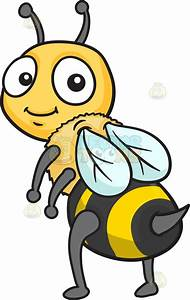 An Adorable Bee Showing Its Stinger Tail Cartoon Clipart ...