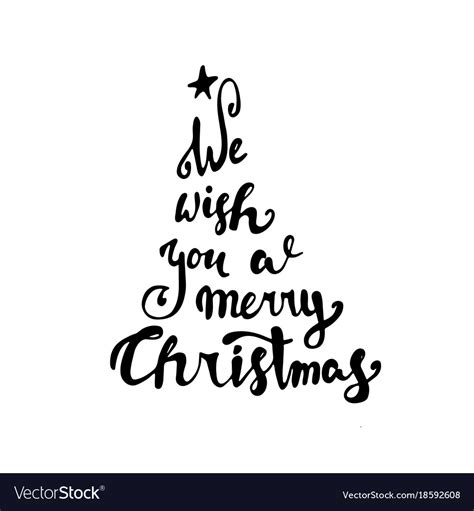 merry christmas text black typography white vector image