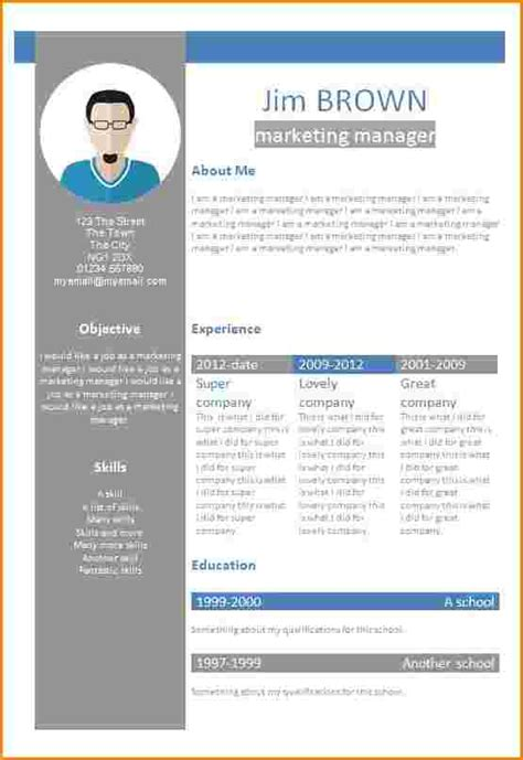 Exemple De Cv Format Word by Exemple De Cv Word Modele Cv Gratuit Alienbar