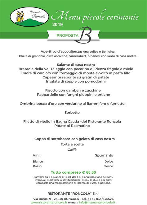 Menu Per Banchetti by Menu Per Piccole Cerimonie Banchetti Ed Eventi