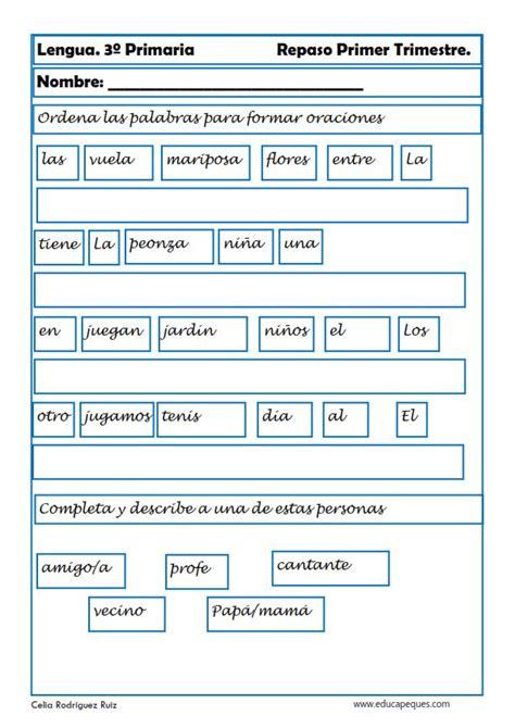 Ejercicios de lengua para Tercero de Primaria ejercicio
