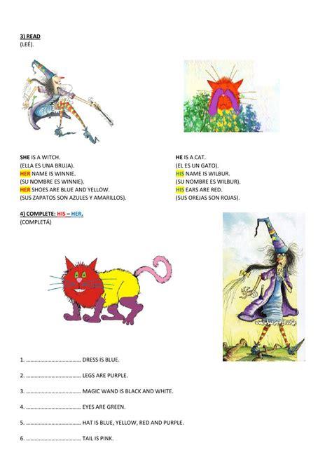 winnie  witch worksheet  quinto primaria