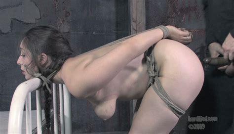 Naked Brunette Slave Sister Dee Gets Tied To Bed Before