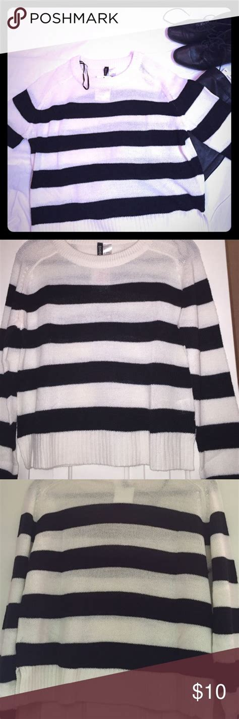 sweater f h m black white striped sweater nwt