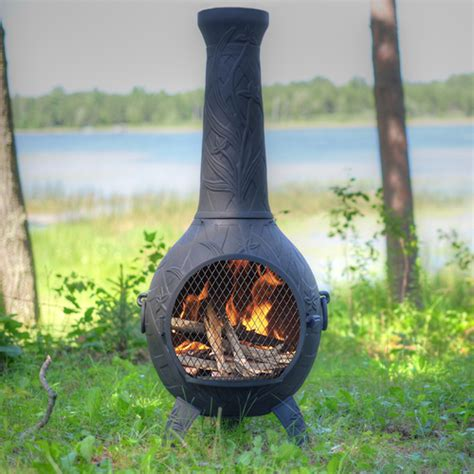 Outdoor Fireplace Chiminea - orchid style cast aluminum outdoor fireplace chiminea with
