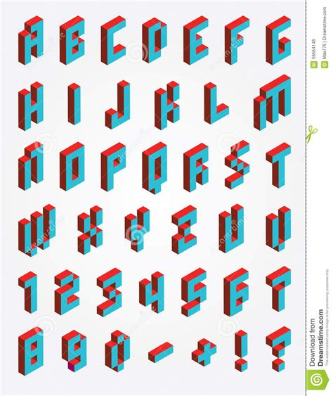 Fonts Pixel Isometric Stock Vector Illustration Of