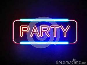 Party Neon Sign Stock Illustration Image