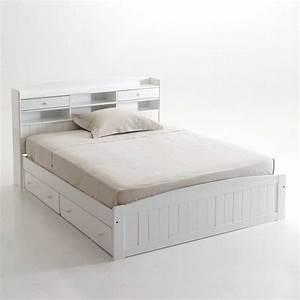 Lit 120x190 Avec Tiroir : tourdissant tete de lit avec rangement 140 avec tete de lit avec rangement achat vente galerie ~ Teatrodelosmanantiales.com Idées de Décoration