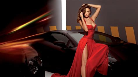 girl   red dress  car phone wallpapers