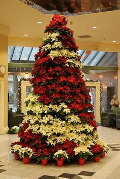 poinsettia tree stand holiday decorating ideas