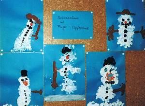 Basteln Winter Kinder : schneemann mit tupftechnik kinderspiele ~ Frokenaadalensverden.com Haus und Dekorationen