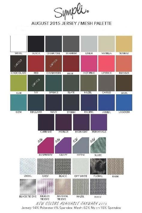 sympli color chartavailable    clothing