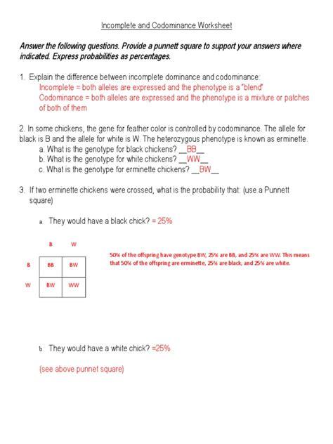 Incompleteandcodominanceworksheet Answersdoc  Dominance (genetics) Genotype