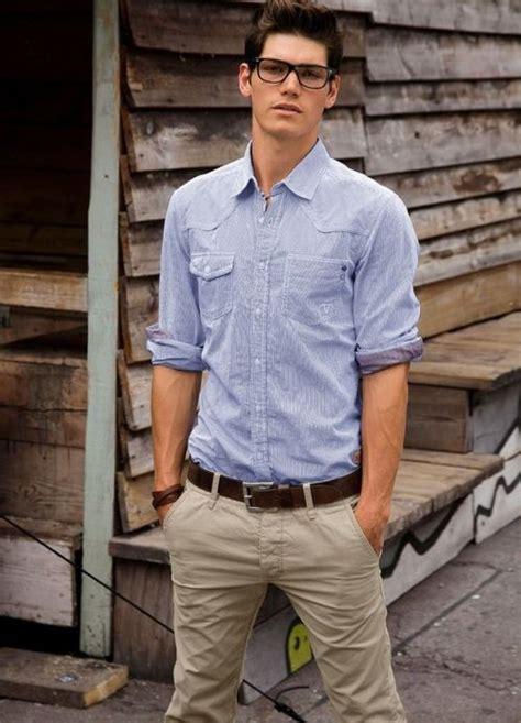 khaki pants  blue shirt  style pinterest sexy