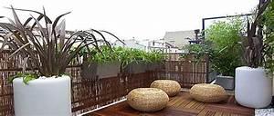 terrasse zen idees et photos pour une terrasse sympa With amenagement terrasse exterieure appartement 5 bambou en pot brise vue naturel et deco sur la terrasse
