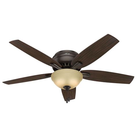 low profile ceiling fan with light hunter newsome 52 in indoor premier bronze bowl light kit