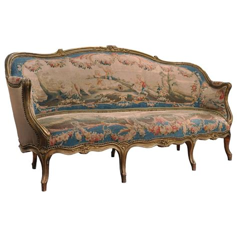canapé ottoman 19th century louis xv carved canapé with aubusson