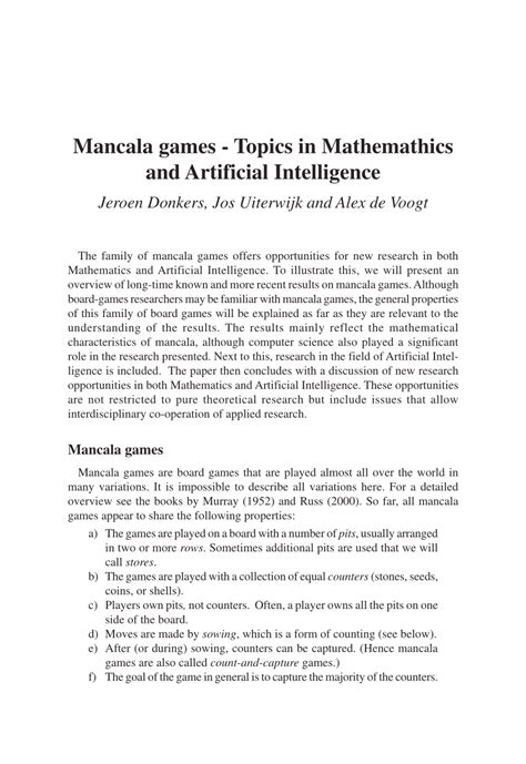 (PDF) Mancala games: Topics in Mathemathics and Artificial