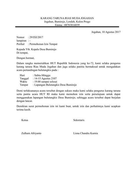 contoh surat permohonan izin yang benar dan bagus