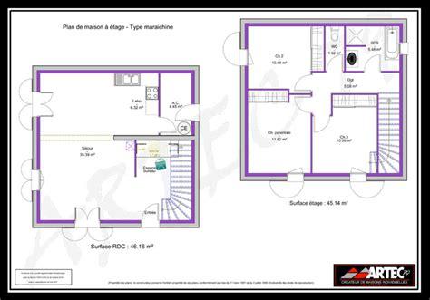 plan maison 100m2 4 chambres plan de maison a etage 100m2
