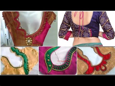 full  simple lace saree blouse  neck designs