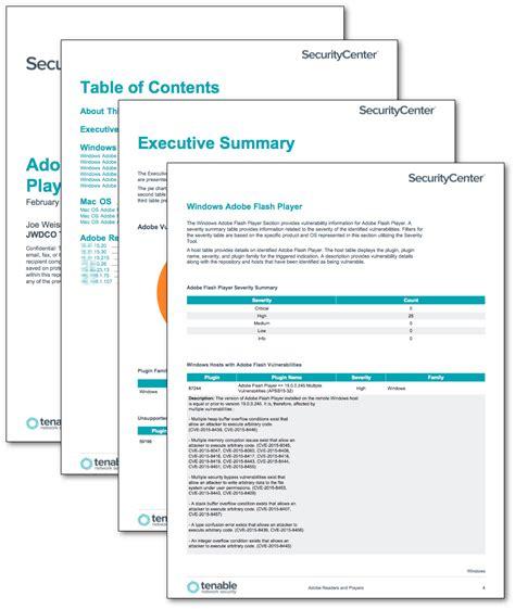 adobe reader  player report sc report template tenable