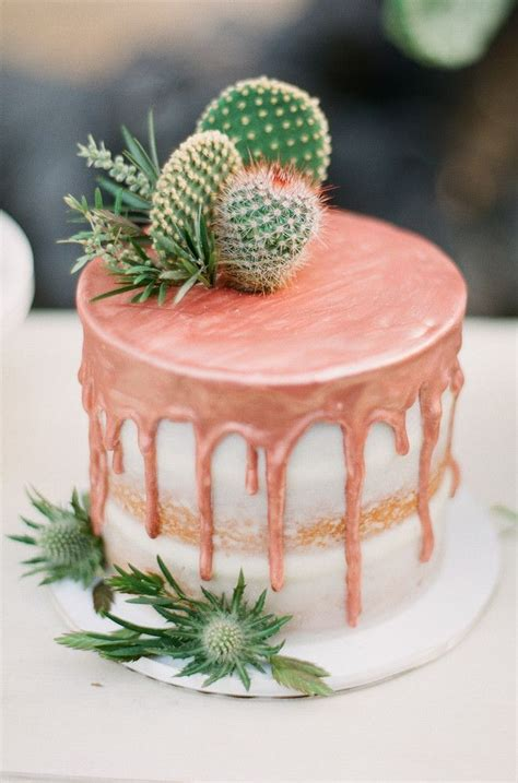 rose gold  cacti topped drip cake tropfkuchen