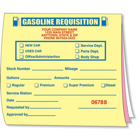 gasoline requisition book car dealership forms