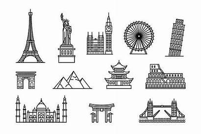 Famous Places Tourist Buildings Illustration Building Landmarks