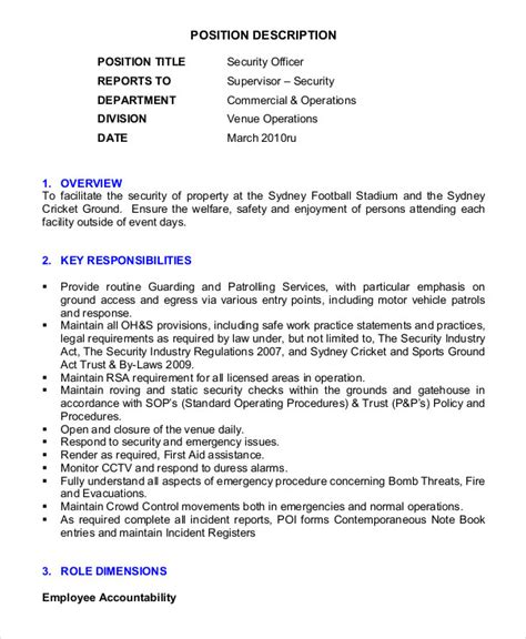 Security Resume Template by Security Guard Resume 5 Free Sle Exle Format