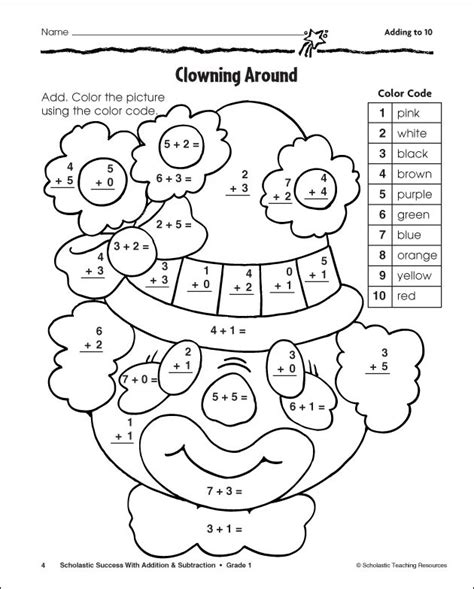 1st grade math addition coloring worksheet grade addition and subtraction color by number