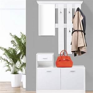 Meuble Entree Blanc : vestiaire d 39 entr e avec miroir design blanc portes ~ Teatrodelosmanantiales.com Idées de Décoration