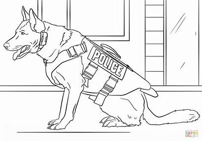 Coloring Police Dog Pages Printable Drawing Paper