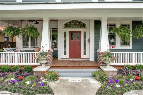 Awesome Craftsman Porch Columns With Red Flowers Steps
