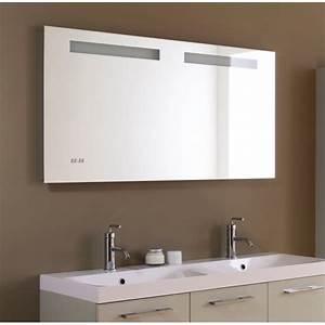 miroir salle de bain retro eclairage horloge et antibuee With miroir led salle de bain