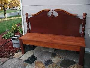 Bench made from old headboard diy Pinterest