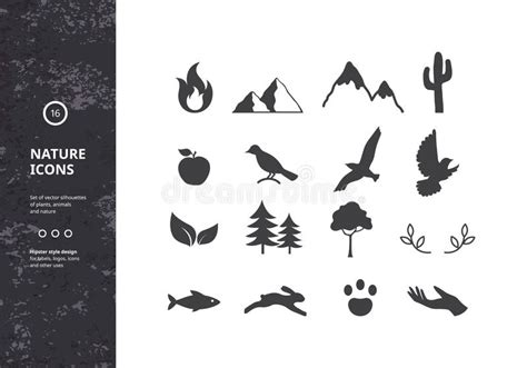 Silhouettes Of Plants, Animals And Nature Stock Vector