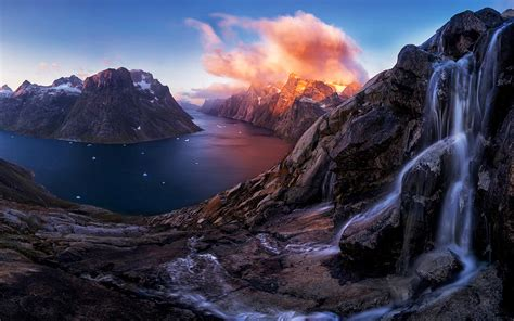 wallpapers greenland fjord sunset waterfall