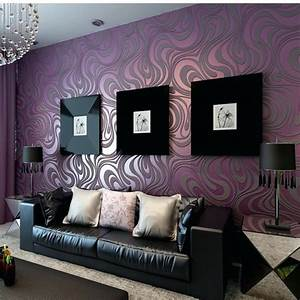 Purple And Gold Living Room Wallpapers - Modern home ...