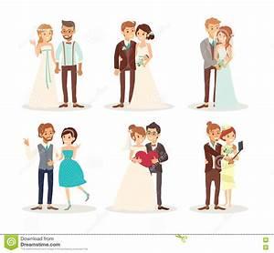 Cute Wedding Couple Bride And Groom Cartoon Stock Vector ...